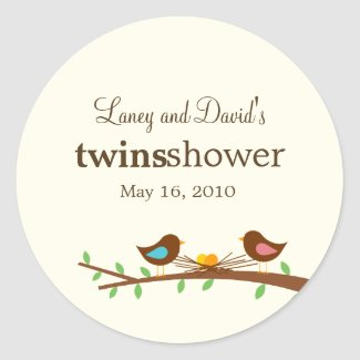 Two New Eggs Favor Sticker or Gift Tag Stickers sticker