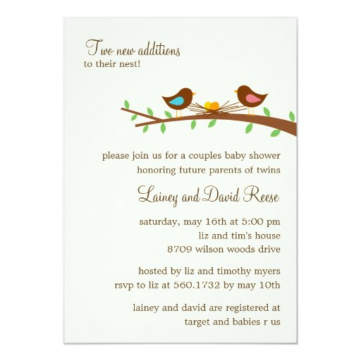 "Two New Eggs Twins Baby Shower Invitation 5"" X 7"" Invitation Card"