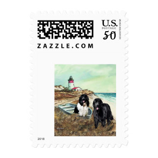 Two Newfs and a Boat Postage Stamps