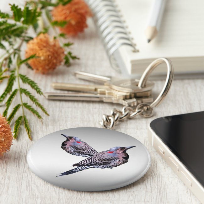 Two Northern Flicker Woodpecker Birds Keychain