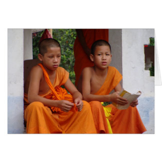 Two Novice Monks Studying Card