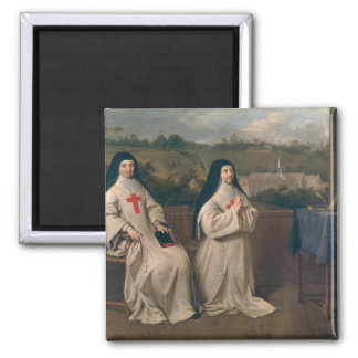 Two Nuns 2 Inch Square Magnet