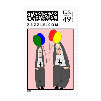 Two Nuns With Balloons Postage Stamps