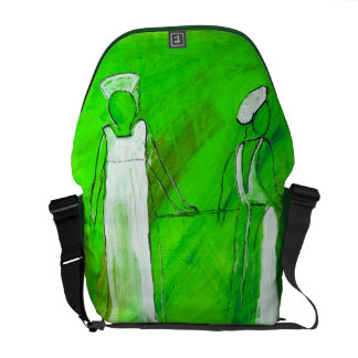 Two nurses in white painting in acrylic courier bag