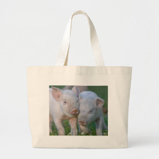 Two Nuzzling White Piglets - Cute Baby Animals Tote Bags