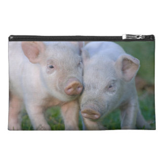 Two Nuzzling White Piglets - Cute Baby Animals Travel Accessories Bags