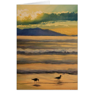 """""""Two of a Kind"""" Birds on the Beach Watercolor Greeting Card"""