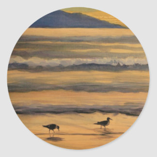 """""""Two of a Kind"""" Birds on the Beach Watercolor Classic Round Sticker"""
