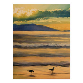 """""""Two of a Kind"""" Birds on the Beach Watercolor Postcard"""