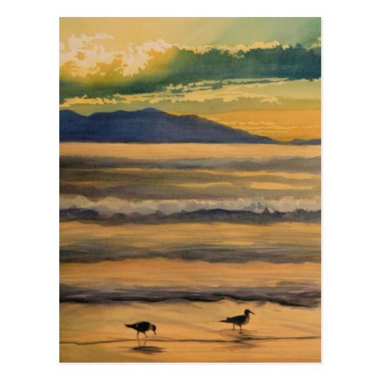 """Two of a Kind"" Birds on the Beach Watercolor Postcard"