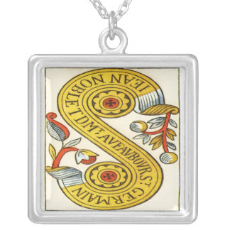Two of coins tarot cards square pendant necklace