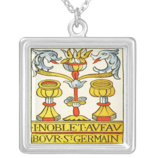 Two of Cups Tarot card Square Pendant Necklace
