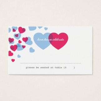 Two of Hearts Escort Card - Pink & Blue
