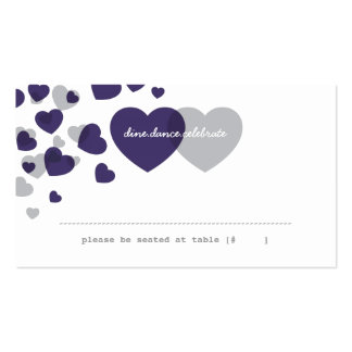 Two of Hearts Escort Card - Plum & Gray Business Card