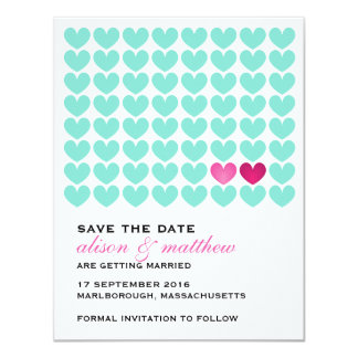 Two of Hearts Save the Date Card