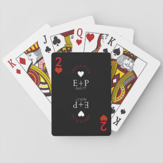 two of hearts wedding love monogram playing cards