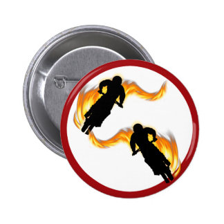 Two Off Road Dirt Bikes with Flames Pin