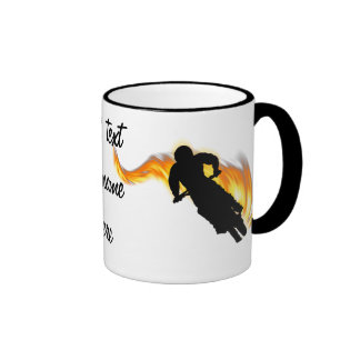 Two Off Road Dirt Bikes with Flames Mugs