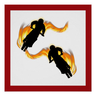 Two Off Road Dirt Bikes with Flames Poster