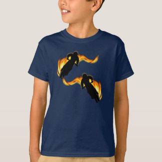 Two Off Road Dirt Bikes with Flames T-Shirt