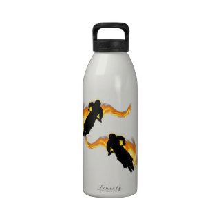 Two Off Road Dirt Bikes with Flames Reusable Water Bottle