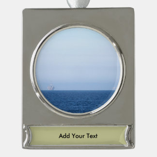 Two Oil Rigs Silver Plated Banner Ornament