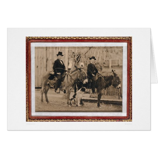 Two O'Keefe boys on donkeys (40040) Card