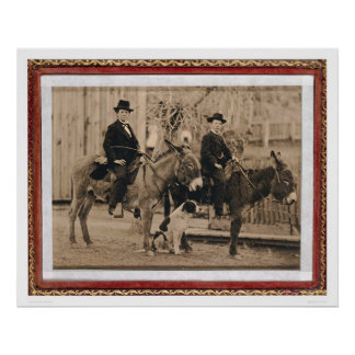 Two O'Keefe boys on donkeys (40040) Poster