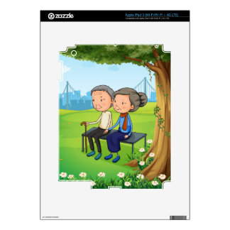 Two old couple at the park decals for iPad 3