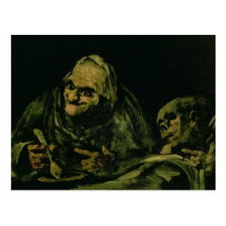Two Old Men Eating Postcard