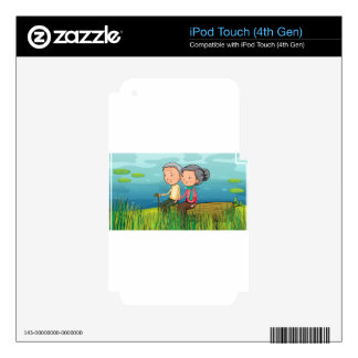 Two old people sitting near the lake decal for iPod touch 4G