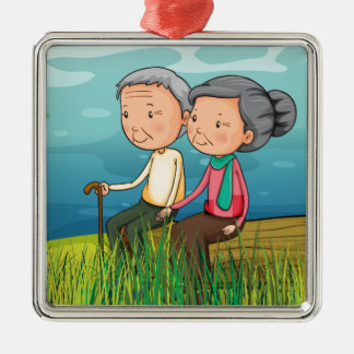 Two old people sitting near the lake metal ornament