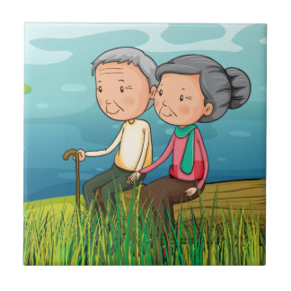 Two old people sitting near the lake tile