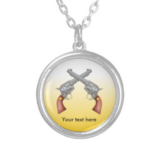 Two old west crossed pistols - Revolver Silver Plated Necklace