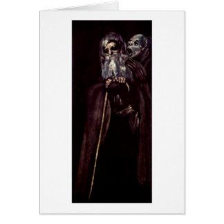 Two Old Woman By Francisco De Goya Card