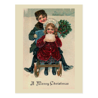 """Two on a Christmas Sled"" Postcard"