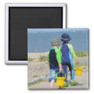 Two on the Beach 2 Inch Square Magnet