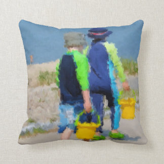 Two on the Beach Throw Pillow