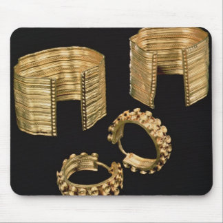Two open facetted bracelets and a pair of earrings mouse pad