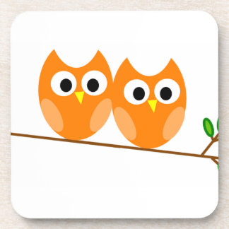 Two Orange Owls in Tree Drink Coaster