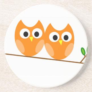 Two Orange Owls in Tree Drink Coaster