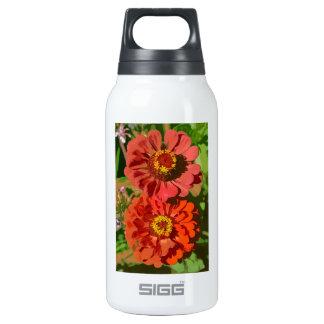 Two orange zinnia flowers in bloom insulated water bottle