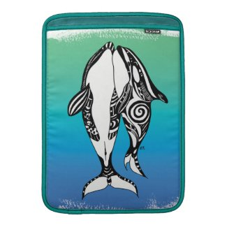 Two Orca Whales Teal Blue Brushed Tribal MacBook Air Sleeve