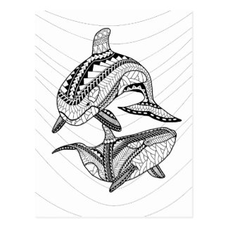 Two Orcas Adult Coloring Postcard