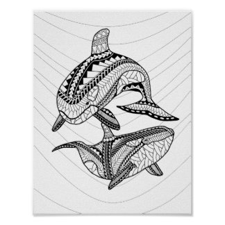 Two Orcas Adult Coloring Poster