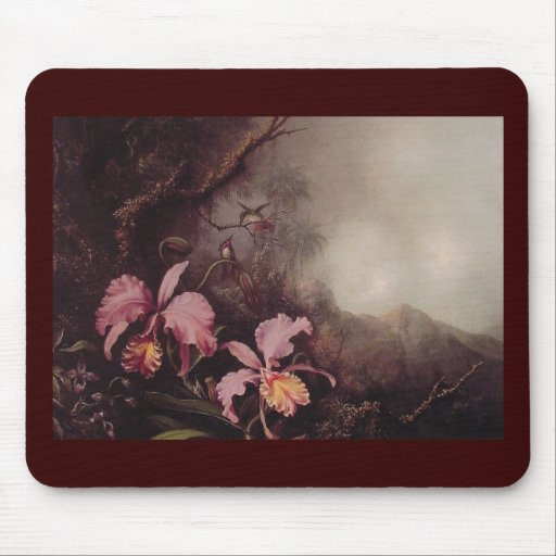 Two Orchids and a Mountain landscape Mouse Pad