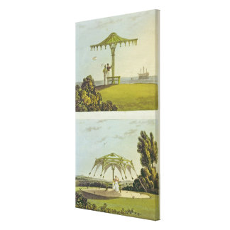 Two ornate covered garden seats canvas print
