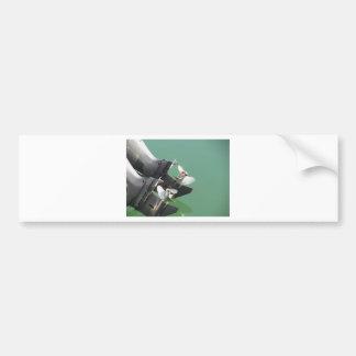 Two outboard boat motors bumper sticker