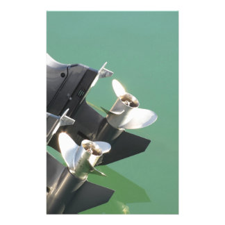 Two outboard boat motors stationery