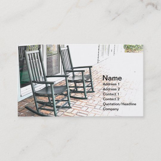 Two Outdoor Black Wooden Rocking Chairs Business Card